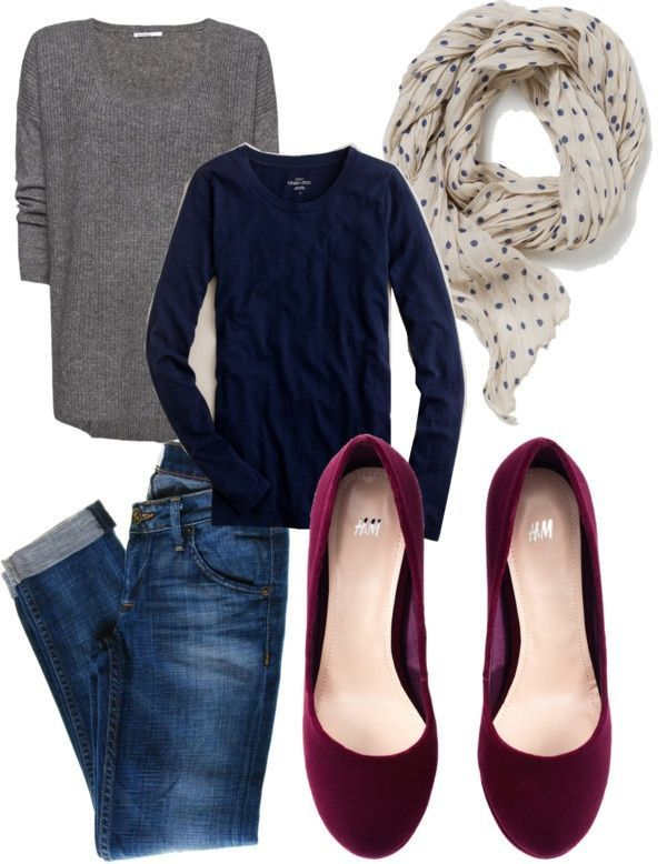 Navy top, gray cardigan, polka dot scarf, burgundy shoes, dark denim