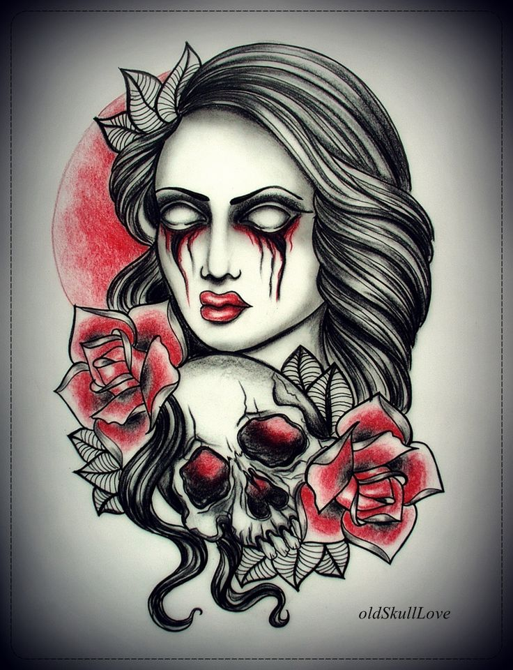 girl with skull tattoo design by oldskulllovebymw on deviantart tattoos pinterest in love. Black Bedroom Furniture Sets. Home Design Ideas