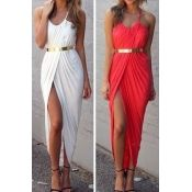 Sexy Bohemian V Neck Spaghetti Strap Asymmetrical Ankle Length Red Spandex Dress(Waistband Not Included)