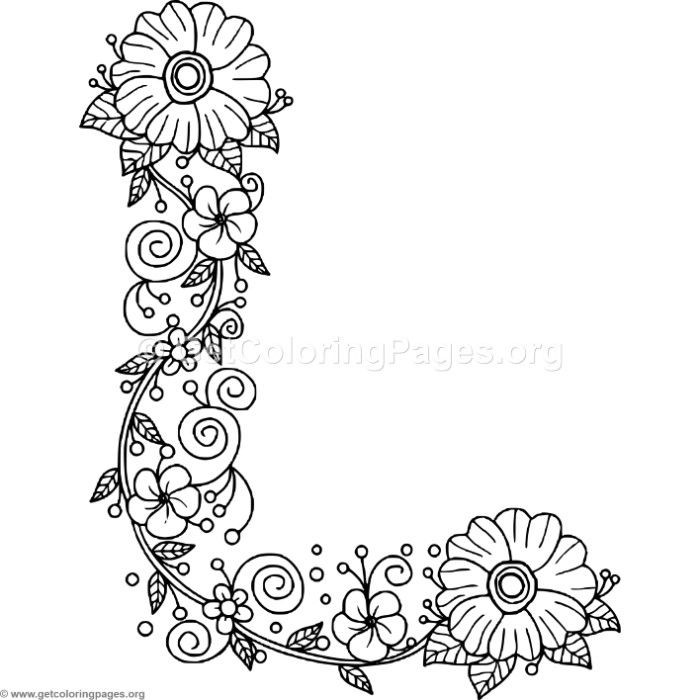 Free Instant Download Floral Alphabet Letter L Coloring Pages