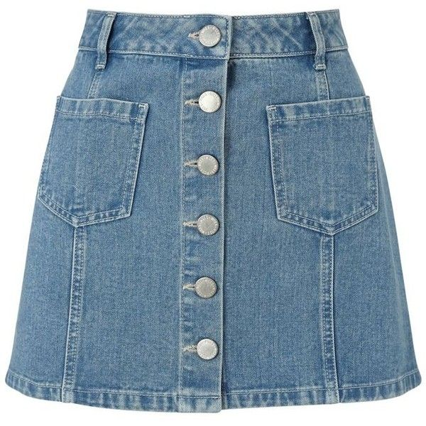 Miss Selfridge Petites blue denim mini skirt found on Polyvore featuring skirts, mini skirts, bottoms, saias, blue a line skirt, petite skirts, denim miniskirt, short skirts and a line mini skirt