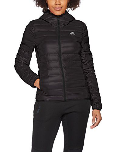 adidas Women s Varilite Hooded Down Jacket Black Legend Ink Ash Grey ... 9783dbba748