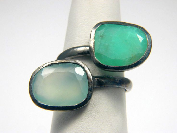 Black Rhodium Plated Free Form Chrysoprase And Green Chalcedony Bezel Set Ring