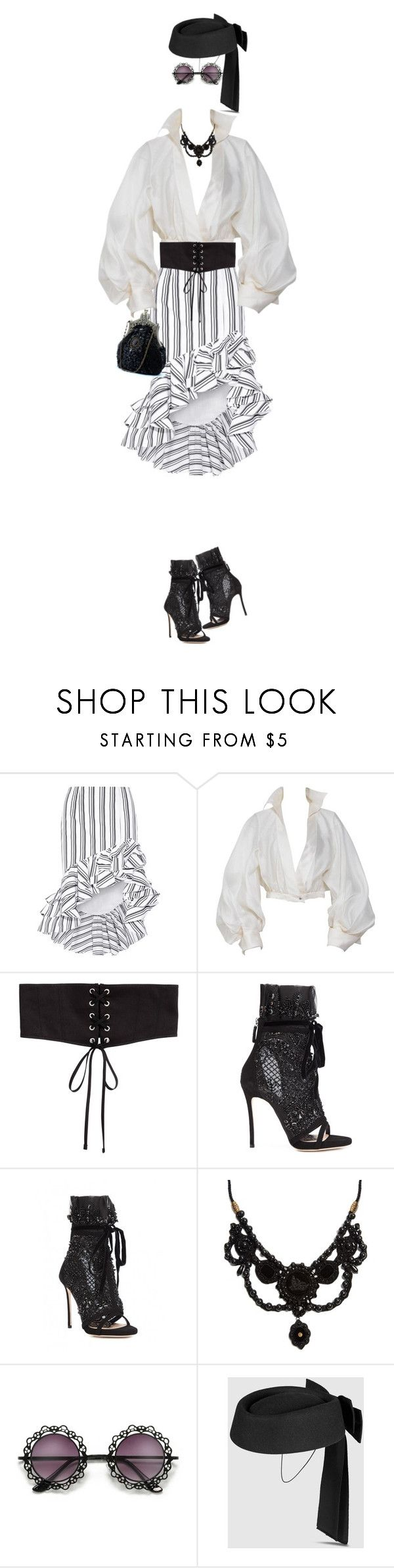 """Untitled #711"" by indirareeves on Polyvore featuring Caroline Constas, Claude Montana, Dsquared2 and Gucci"