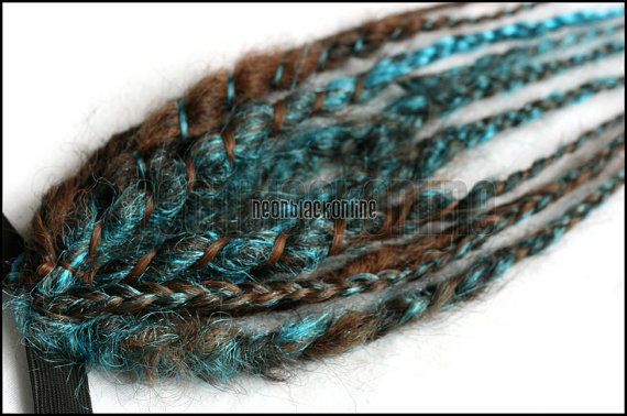 Brown and turquoise mini dread fall synthetic by NeonBlackOnline