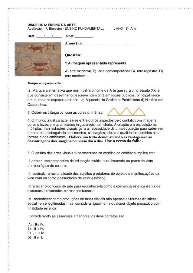 Avaliacoes Artes Primeiro Bimestre Com Imagens Avaliacao