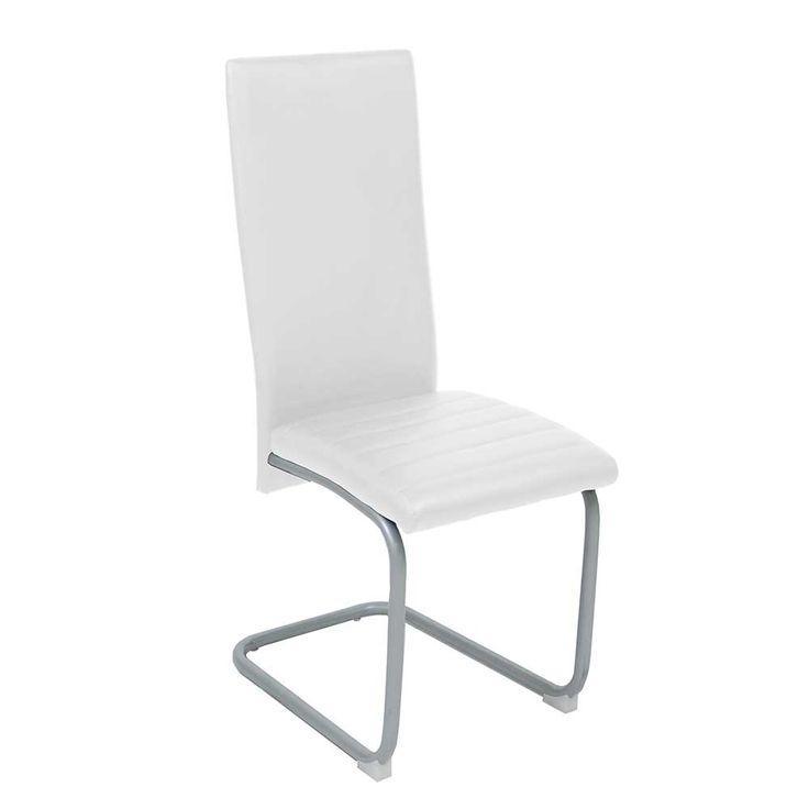 Schwingstuhl Set In Weiß Kunstleder Metall Verchromt Günstig (4er Set)  Jetzt Bestellen Unter: