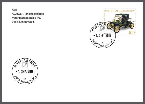 Sonderbeleg - Erstverwendung Datumstempel Postpartner 9486 Schaanwald (a)