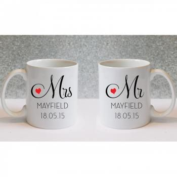 Mr and Mrs Personalised Mugs Set