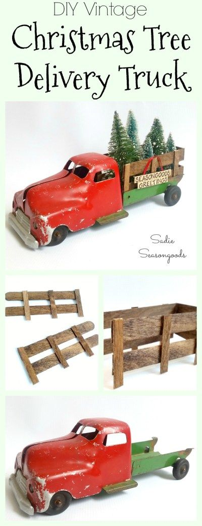 """Take one broken antique toy truck, add some wood-stained popsicle sticks, fill with vintage bottle brush trees, and you have the cutest Christmas decor ever! This DIY Vintage Christmas tree delivery truck is as darling as it gets...and proves that an """"imperfect"""" vintage toy truck is the perfect piece to start with for your holiday decor! Fun and festive repurpose / upcycle DIY craft project from #SadieSeasongoods / www.sadieseasongoods.com"""