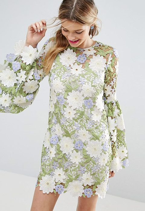 Investing in something special you can wear for more than one day is a real smart move, right? Right. So, look to this major number just in from ASOS SALON. The all-over embroidered lace and XXL sleeves will have you feeling amazing
