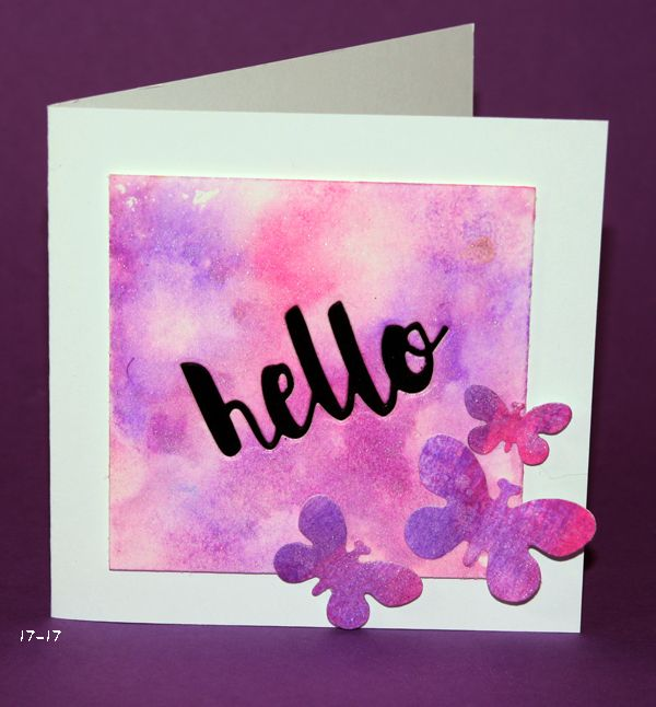 #SSSFAVE #SSS Simon Says Stamp painted hello, inlaid in a watercolored panel with DIstress inks wilted violet and picked raspberry and frost shimmer spray