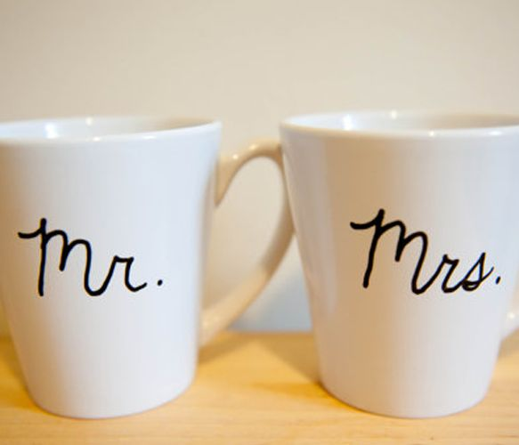 Friends: I have found the perfect (very far in the future) wedding gift for me...Mr & Mrs Coffee Mugs