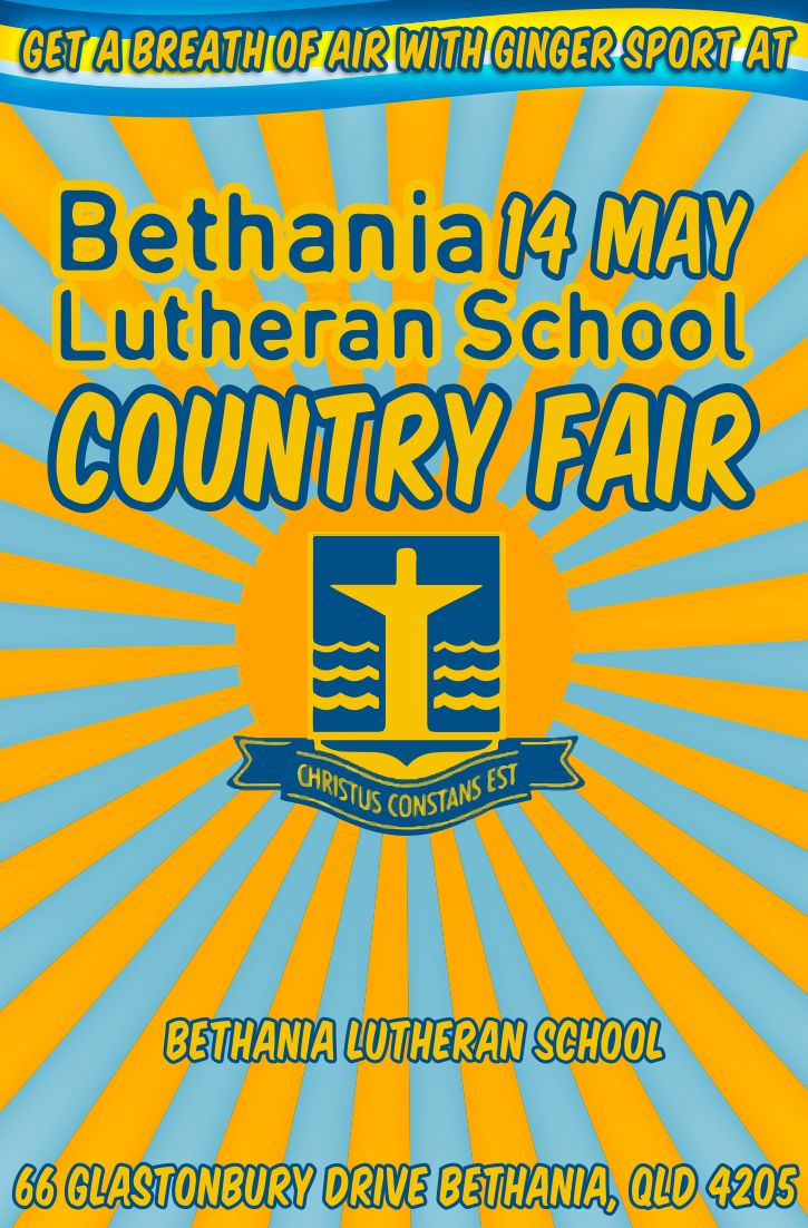 Get a breath of fresh air with Ginger Sport 14 May at Bethania Lutheran School Country Fair!