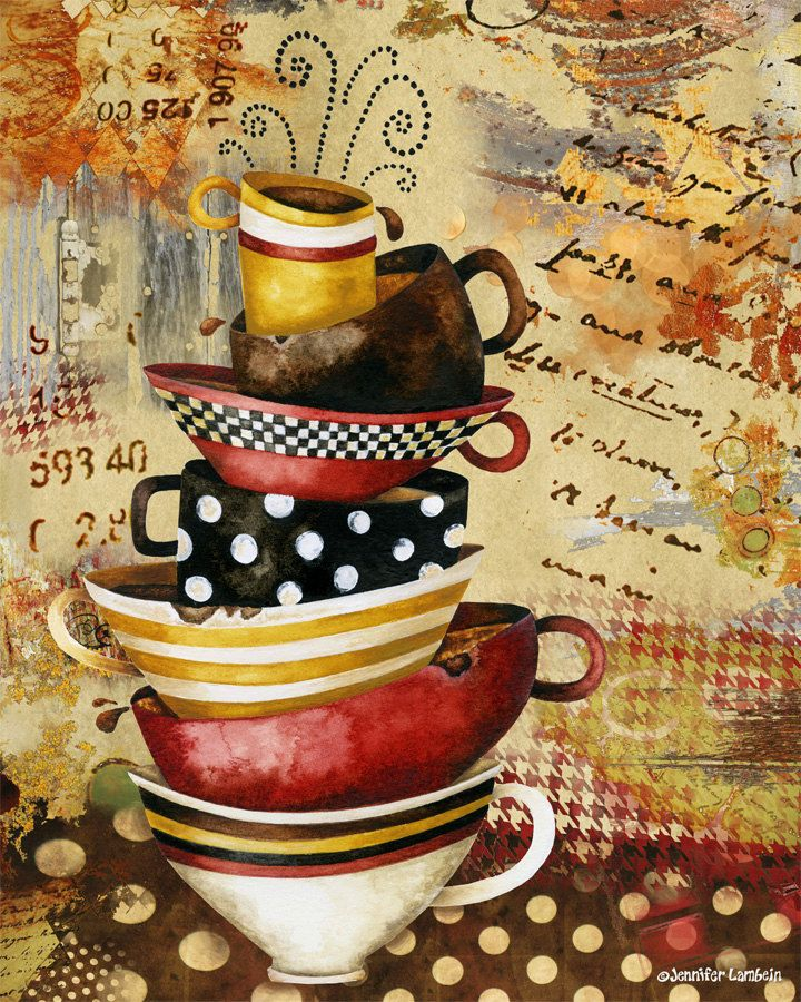 Art Print. Coffee Cups Divine by studiopetite on Etsy