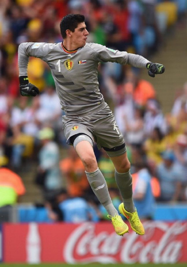 Goalkeeper Thibaut Courtois of Belgium celebrates during the 2014 FIFA World Cup Brazil Group H match between Belgium and Russia at Maracana in Rio de Janeiro