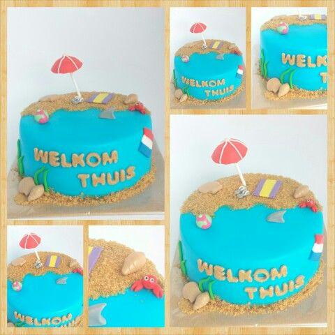 Strand taart/welkom thuis