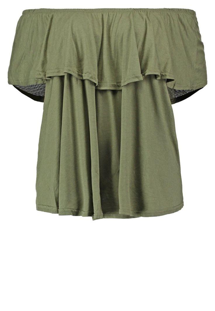 New Look Curves Tshirt off-shoulder khaki