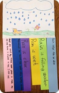 Windsocks for rain  -Picture of rainy day scene/diagram  -6 colored strips...options:  - 3 had facts about rain learned from non-fiction book read as class  -1 how they felt about rain during the rainy day they drew  -1 how the rain affects our environment  - 1 any book they've read that reminds them about the nonfiction book that was read