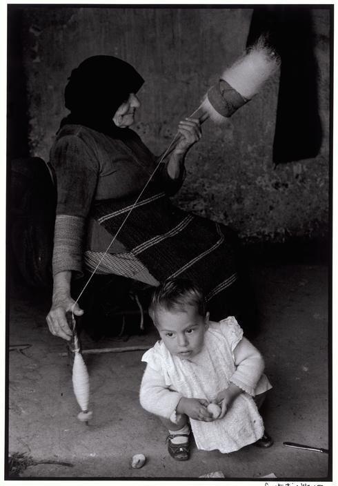Constantine Manos. Greece. Crete. 1962. Grandmother carding wool