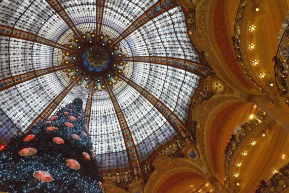 Christmas Greeting Card. Lightweight by JenWatsonPhotography, $4.00 Christmas Tree beneath Stained Glass Dome in Galeries Lafayette, Paris.