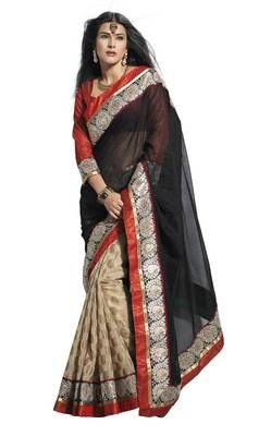 indian Bollywood style Supernet cotton Black saree by sareez house