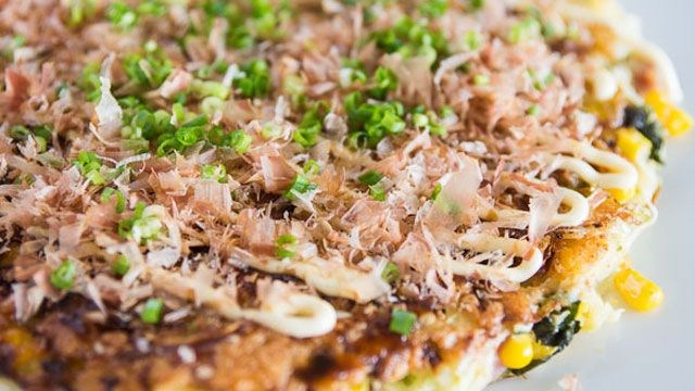 Okonomiyaki is classic Japanese street food that is often compared to Japanese pancakes. Okonomiyaki recipes can vary in ingredients. Get the recipe at PBS.