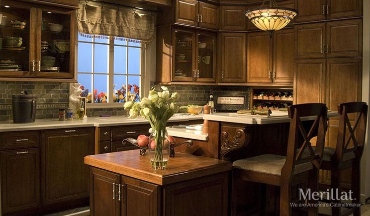Merillat classic labelle in cherry cider with java glaze for Merillat kitchen cabinets