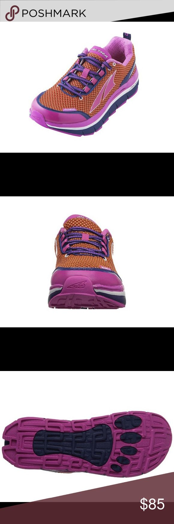 Altra Women's Olympus size 6 Ideal for trail and road running, hiking, fastpacking, and ultramarathons. Designed to reduce ankle sprains, stone bruising, overstriding, knee pain, forefoot pain, impact, and fatigue. Quick-drying, breathable mesh upper and synthetic overlays. Foot-shaped toe box allows natural foot flex and toe splaying. 5 mm Contour insole for light underfoot cushioning. A-Bound™ top midsole layer protects feel from hard surfaces without sacrificing proper altra Shoes…