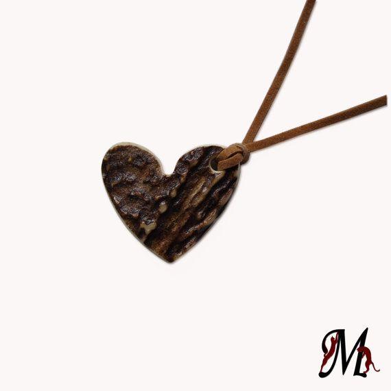 Deer Antler Necklace, Pendant, Heart, bone carving, natural, eco friendly, organic hand carved, Boho, Tribal, Handmade, MariyaArts via Etsy