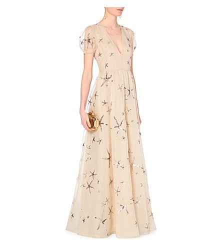 VALENTINO Star-embellished silk-chiffon gown (Wht