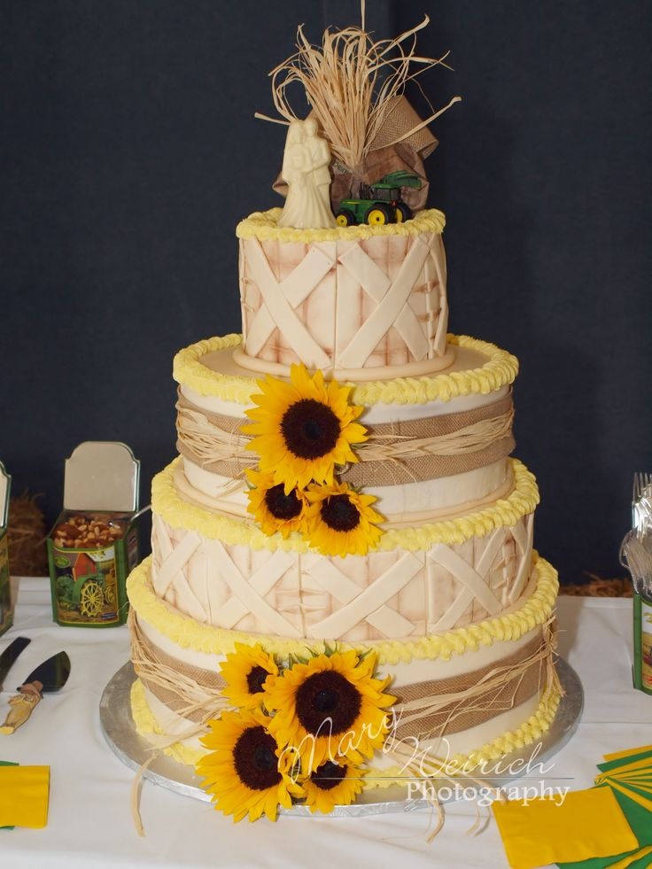 Rustic Country Farm Theme Wedding Cake / John Deere Theme / Sunflowers / Wedding Photography / Mary Weirich Photography