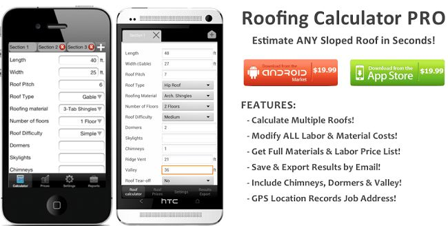 Roofing Calculator Pro App Estimate Cost Of Any Sloped