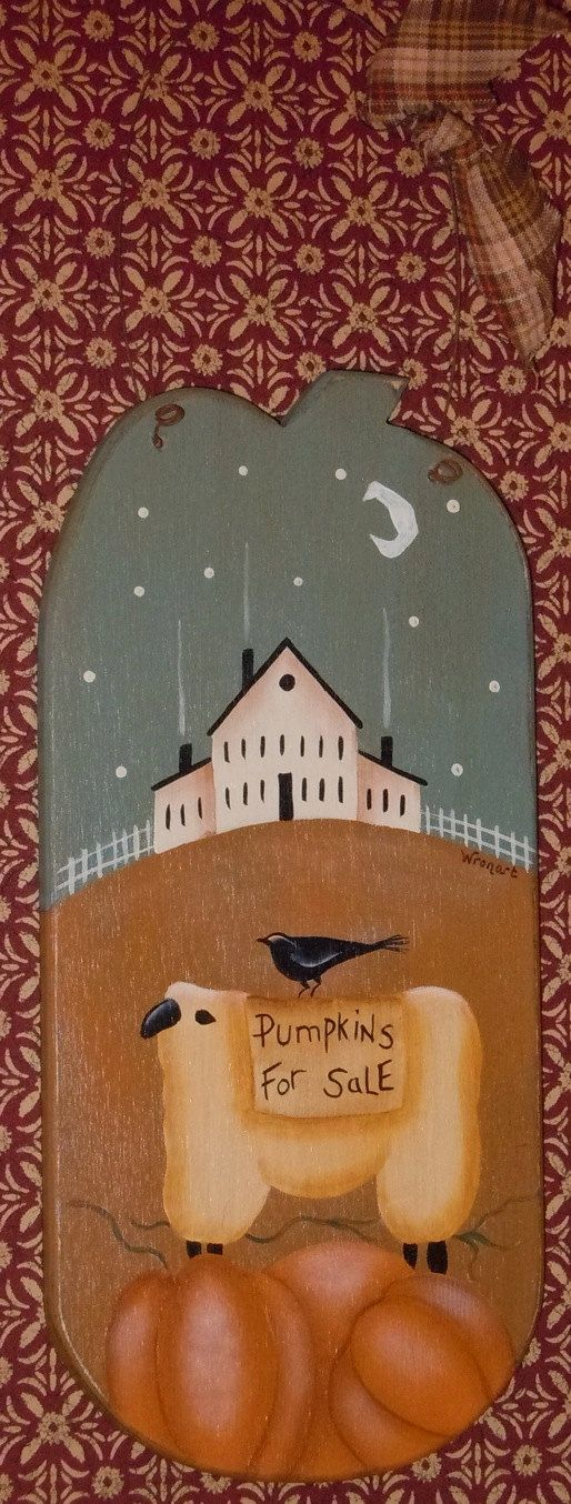 Primitive Folk Art Sheep Pumpkin Crow House Moon Barrel Stave,  Hand Painted