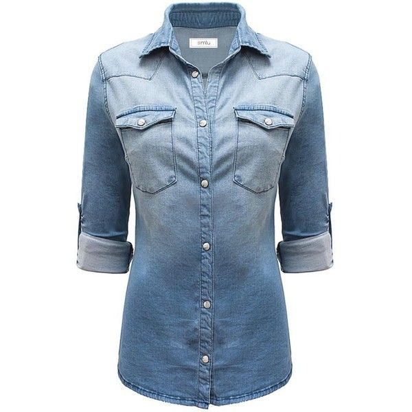 Long Sleeve Denim Button Down Shirt Slim Fit Blouse ($28) ❤ liked on Polyvore featuring tops, blouses, long sleeve shirts, long sleeve button down shirts, blue blouse, slim fit button down shirts and blue button down shirt