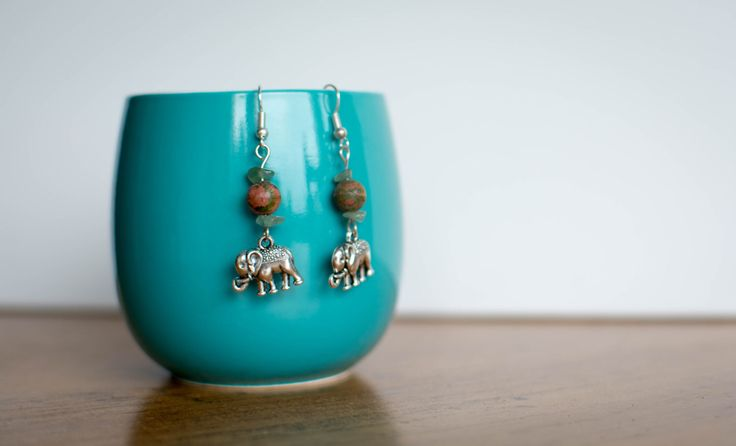 A personal favorite from my Etsy shop https://www.etsy.com/ca/listing/458194466/unakite-and-aventurine-elephant-earrings