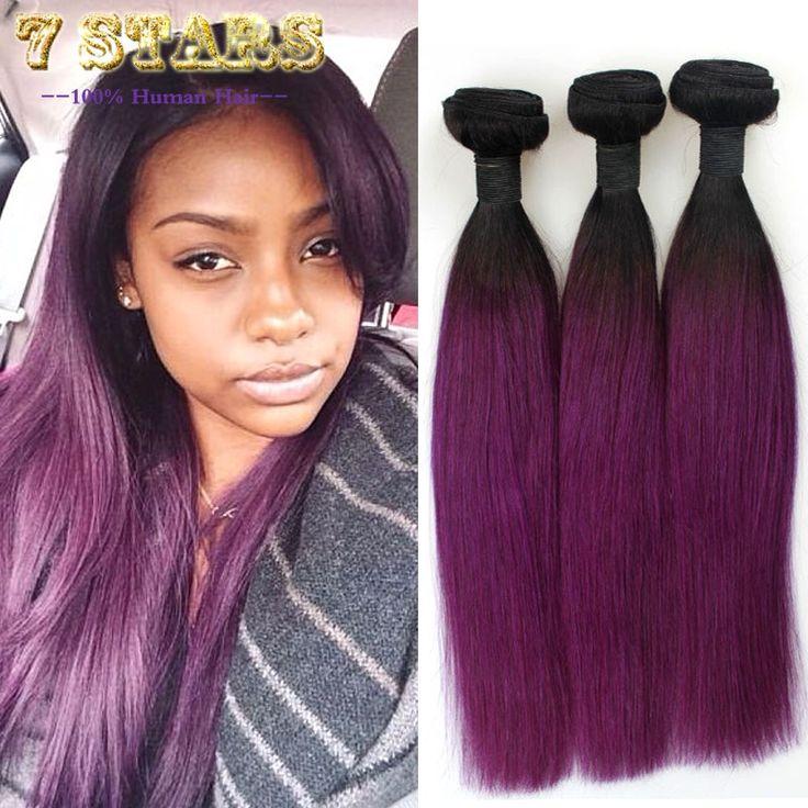 (84.55$)  Watch more here  - 2 Tone Ombre Brazilian Hair Weave Bundles 7A 1B/Purple Ombre Human Hair Weave Extensions 3Pcs Brazilian Hair Bundles Ombre Hair