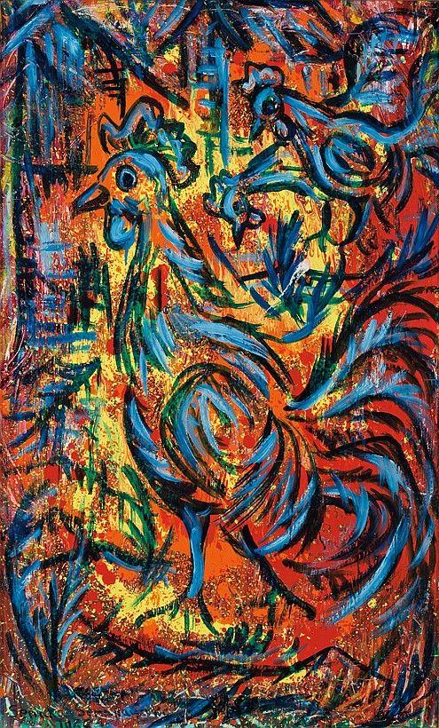 'Rooster' by Senaka Senanayake, 1968. Oil on canvas.