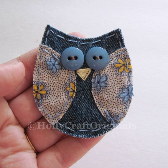 Handmade fabric owl applique measuring about 3 inches and is made from upcycled denim and leftover fabric scraps. This little owl is great for scrapbooking, cardmaking, or anything you might want to attach it to! .