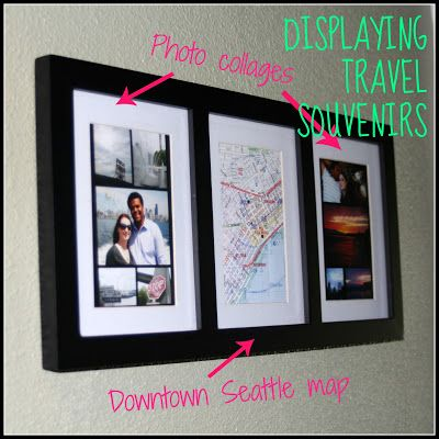 Take a triptych frame and add pictures, maps and tickets stubs accordingly. http://wetravelandblog.com #travel #memorabilia #diy