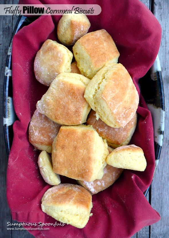 Light & Fluffy Pillow Cornmeal Biscuits ~ Sumptuous Spoonfuls #easy #biscuit #recipe