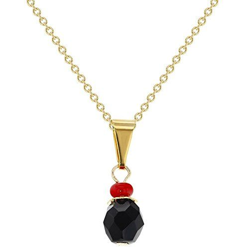"""14k Gold Plated Evil Eye Protection Jet Black Simulated Azabache Pendant 16"""". Charm Size: 0.23 inches (6mm) - Chain Length: 16"""" (40 cms). Evil Eye Protection Pendant Necklace. Unisex Children. Gold-plated-base."""