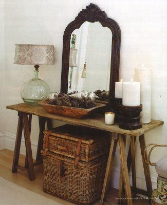Love the display here, great use of rustic, Victorian and Bohemian.  Love the mix.  ?Holiday display