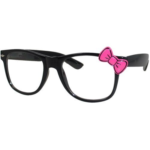 Clear Fashion Glasses Black Pink Bow Fashion Eyewear Clear