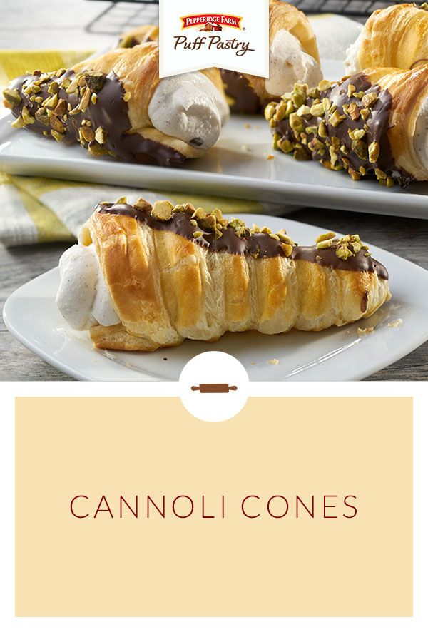 Pepperidge Farm Puff Pastry Cannoli Cones Recipe. Simply wrap foil around ice cream cones to create pastry molds. Spritz with baking spray, wrap with Puff Pastry and bake. Fill with a ricotta cannoli cream and mini chocolate chips, or stuff with pudding, whipped cream or even ice cream! Garnish with a drizzle of chocolate, chopped nuts, or colorful sprinkles…the sky's the limit with these versatile treats that make for an unforgettable backyard barbecue dessert.