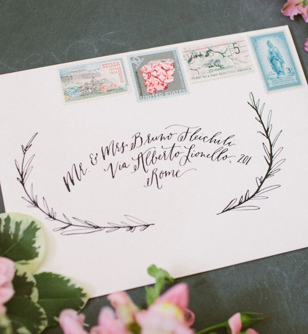 Envelope Inspiration Calligraphy Vintage Stamps