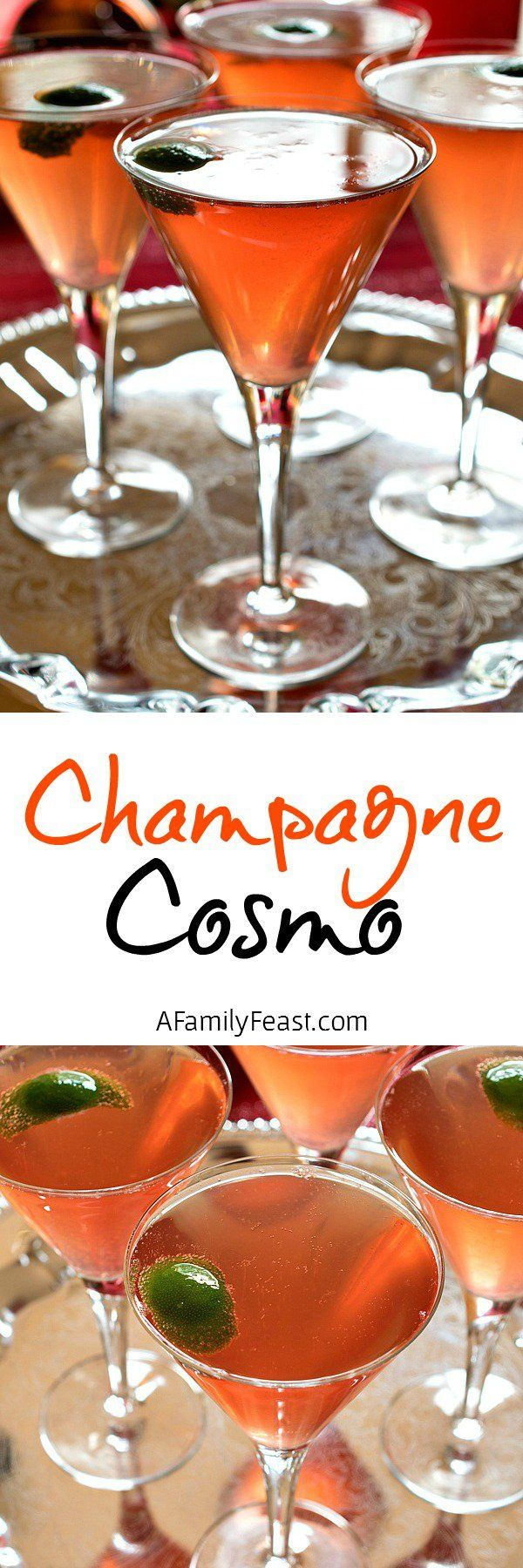 Champagne Cosmo - A Family Feast. Subbing orange juice for the Grand Marnier and using sparkling cranberry cider for the Champagne would make a yummy alcohol-free drink, if desired.