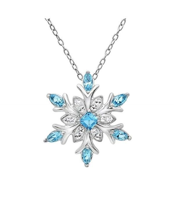 c98a6f6264c73 Sterling Silver Blue and White Snowflake Pendant Necklace with ...