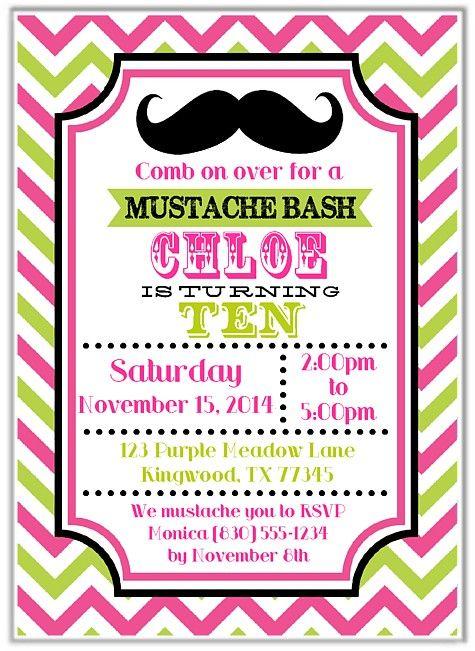 Mustache Girl Birthday Party Invitations   $1.00 each http://www.festivityfavors.com/item_849/Mustache-Girl-Birthday-Party-Invitations.htm