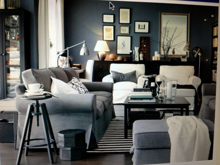 Ikea living room light blue grey large ottoman home ideas pinterest ikea living room - Grey and blue living room ...
